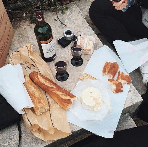 food, wine, bread, cheese