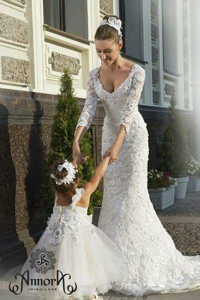 Luxe Bohemian Chic Wedding-Bridal Gown and Flower Girl Dress
