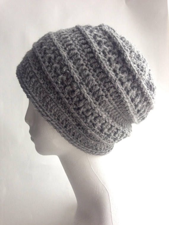 f51fd8366e9 Grey slouch beanie hat. Lightweight and warm. This hat has been crocheted  in a