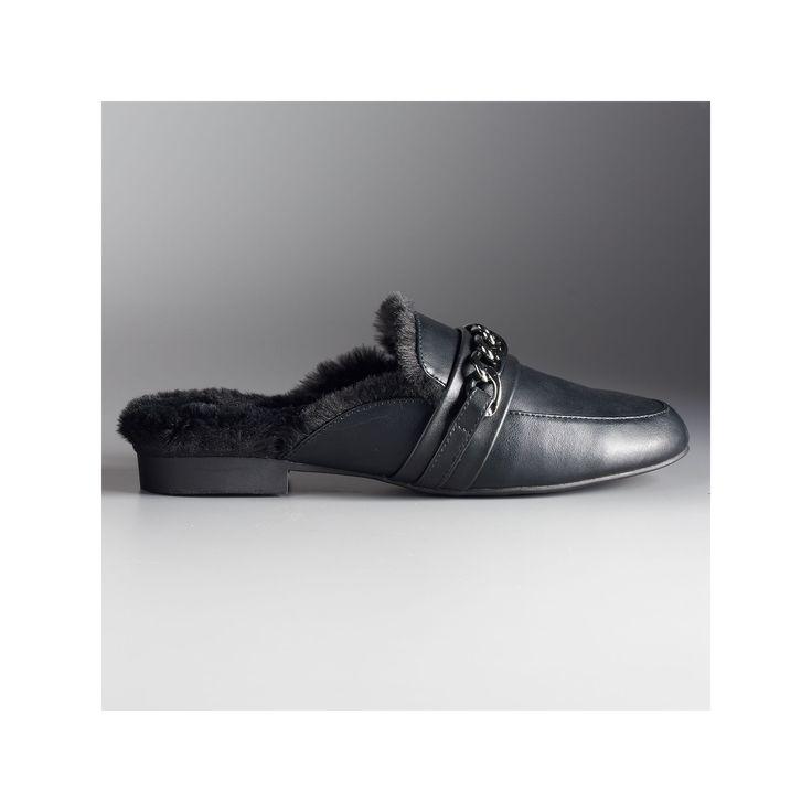 Simply Vera Vera Wang Geona Women's Slide Mules, Size: 9.5, Black