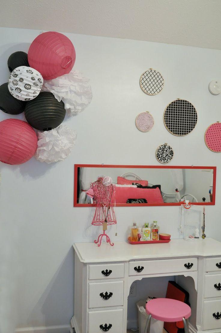 Paris themed bedroom long horizontal mirror above desk