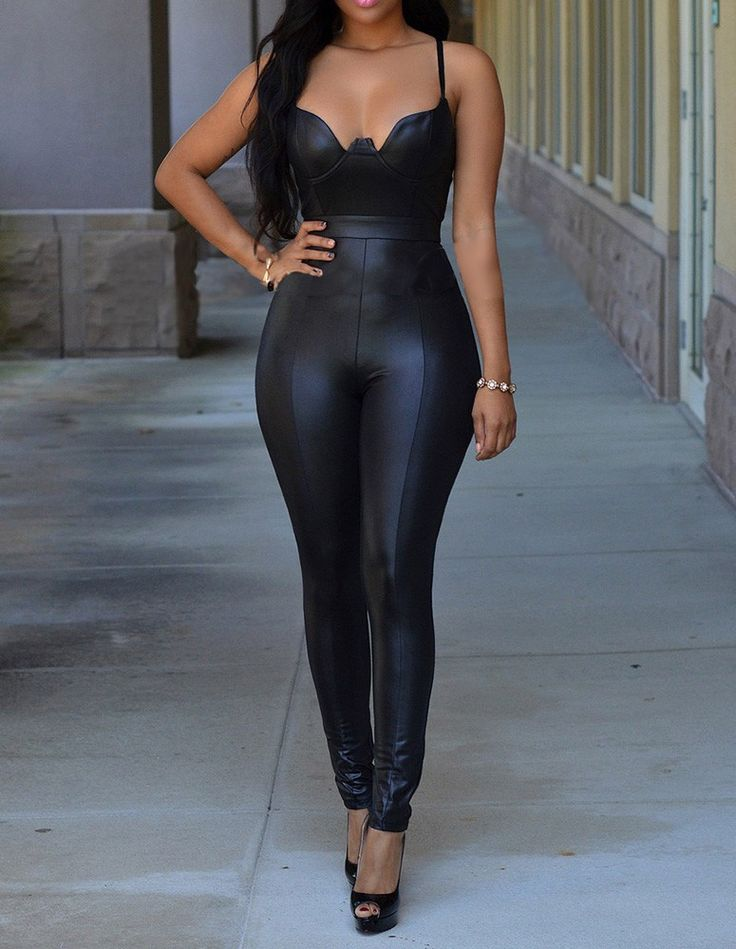 Womens Sexy Black Pu Leather Tight Backless Party Club Cami Jumpsuit