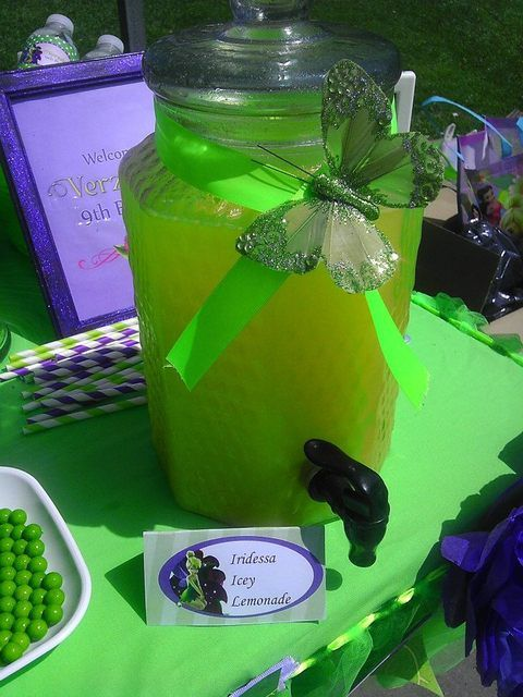 Drink station at a Tinkerbell Party #tinkerbell #party