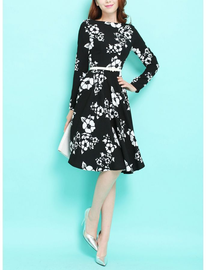15 best vintage inspired floral dresses images on pinterest floral black and white floral retro dress mightylinksfo