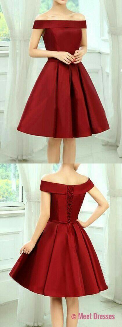 off the shoulder homecoming dresses,short homecoming dresses,satin homecoming dresses PD20186028