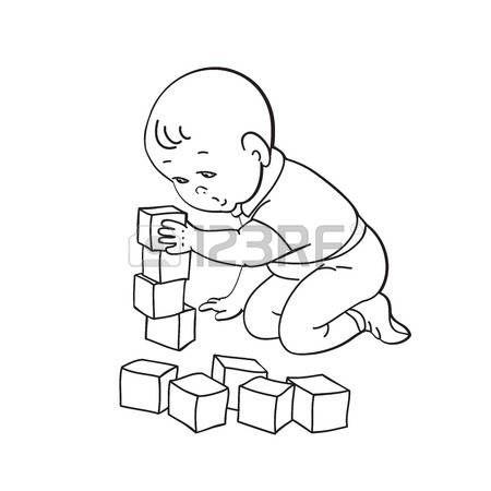 SAGOMA BAMBINO CHE GIOCA: Little lovely baby boy playing