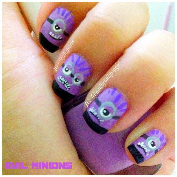purple evil minion nail