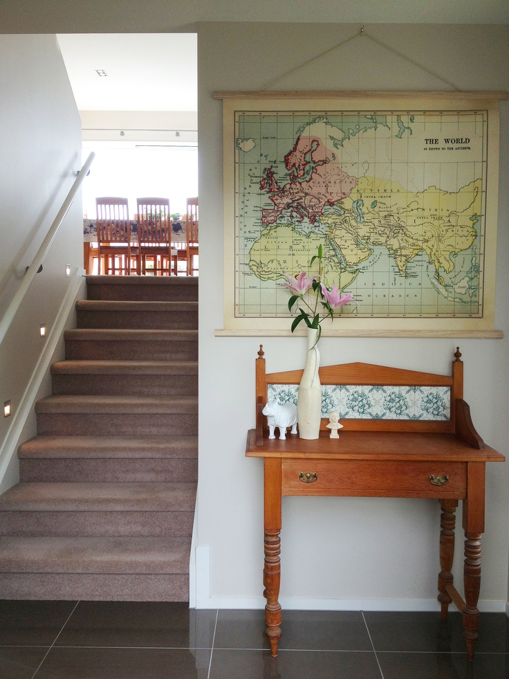 I chose the map and vase to compliment the existing butlers desk. A classic and inviting entrance.