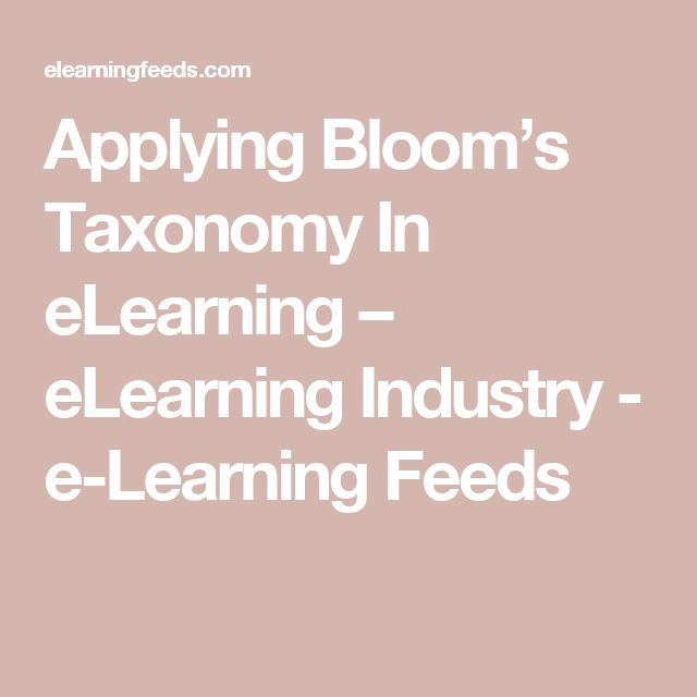 Applying Bloom's Taxonomy In eLearning – eLearning Industry - e-Learning Feeds