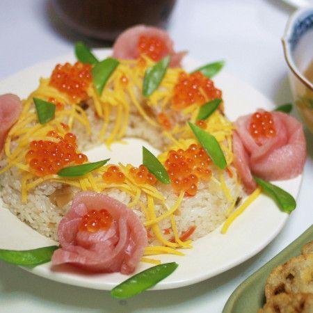 華やか簡単パーティーメニュー*お寿司ケーキレシピ