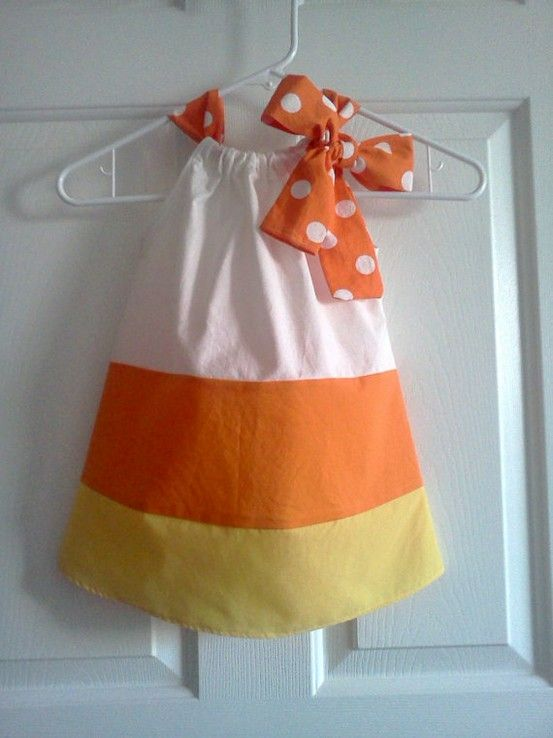 little halloween outfit !: Halloween Costumes, Candy Corn, Pillows Cases Dresses, Corn Dresses, Candycorn, Pillowcases Dresses, Halloween Outfits, Halloween Dress, Pillowca Dresses