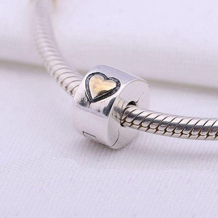925 Sterling Silver Gold Heart Lock Clip Stopper - Fits Pandora Charms Bracelets