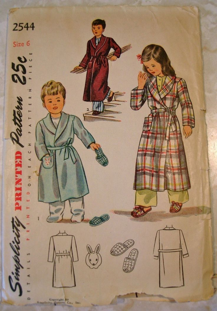2926c002c067d Vtg 1940s Darling Childs Robe & Slippers Pattern UNCUT FF Simplicity 2544  Sz6 | Vintage Sewing Patterns | Vintage sewing patterns, Sewing patterns,  ...