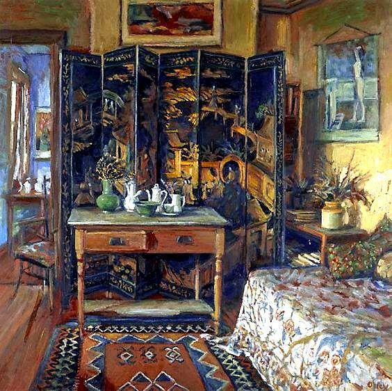 Chinese screen and yellow room, (1996) by Margaret Olley
