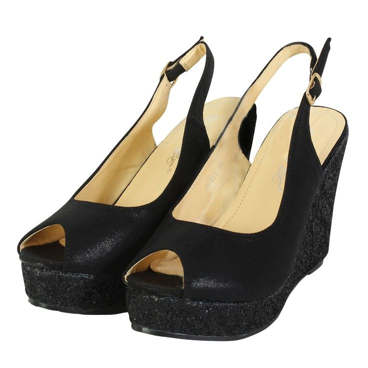 New Ladies/Womens Black Chunky Flatform Open Toe Wedges Shoes. UK SIZES