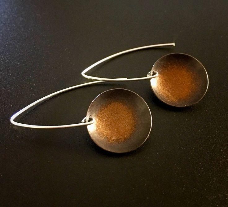 EnamelArt fine silver drop earrings