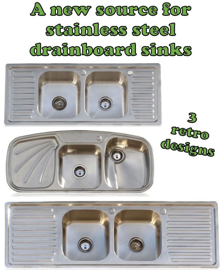 Drainboard kitchen sinks: Oh, how we love them in our vintage and retro-design kitchens! Those drainboards are so darn functional — and this style of sink, in either stainless steel or porcelain enamel on cast iron, is period-correct for midcentury kitchens and even earlier. Doing product research last week, I stumbled onto a new source …