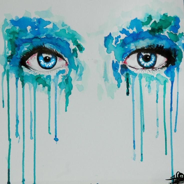 Watercolor eyes blue 15cm x 15cm