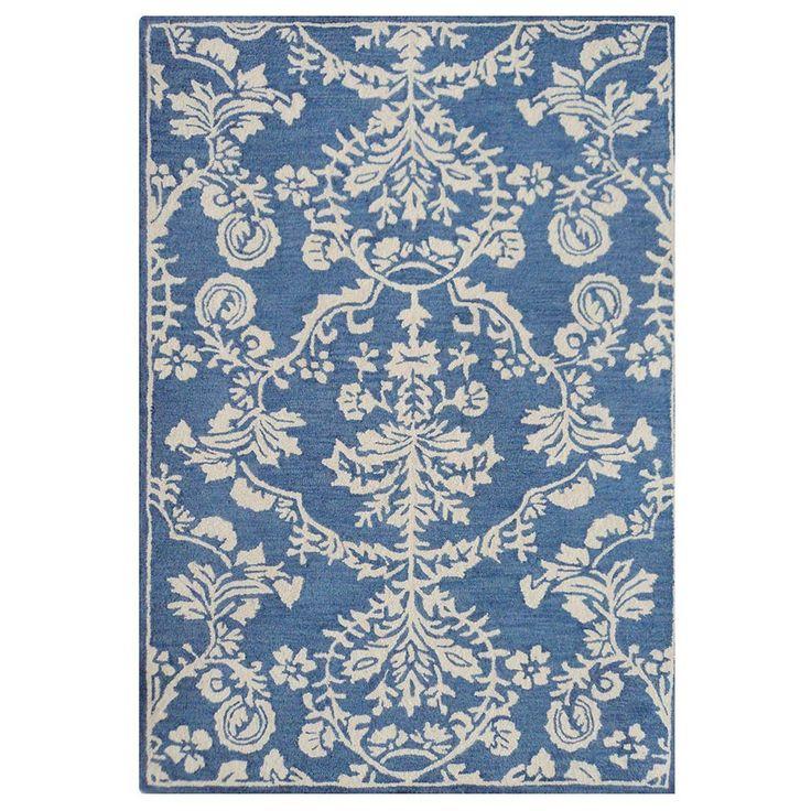 Ivory & Blue Flora Wool Rug - Eastern Breeze - Temple & Webster presents