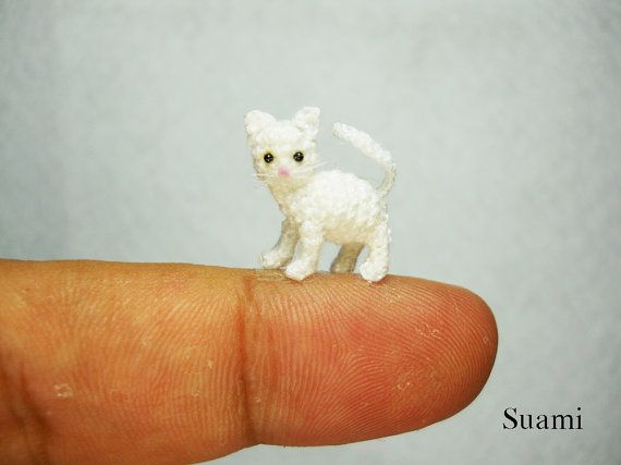 White Cat Kitten  Micro Miniature Crochet Cats  Made to by SuAmi, $58.00