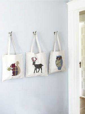 Bolsas de tela con figuras