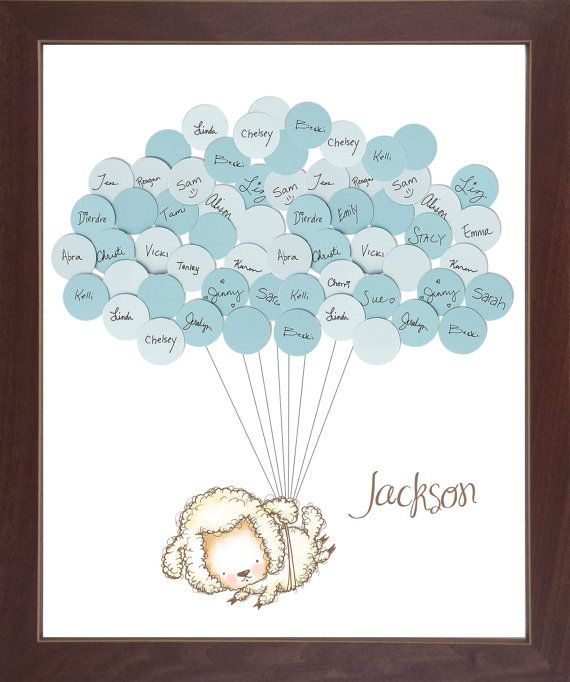Sheep Lamb Theme Baby Shower Guestbook Print   Boy