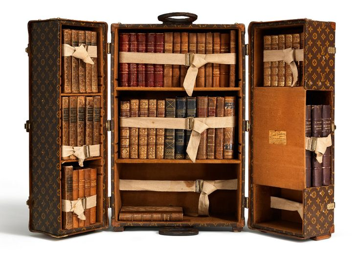 "The Louis Vuitton ""Library Trunk"". In 1923, Louis Vuitton created a trunk for books, the use of which was not exclusive for travel but also for at home. Many well-known writers joined the bibliophiles and collectors acquiring these trunks, including Ernest Hemingway and Françoise S"