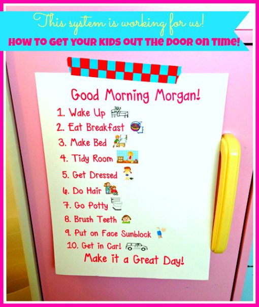 Getting Ready Morning Chart For Kids