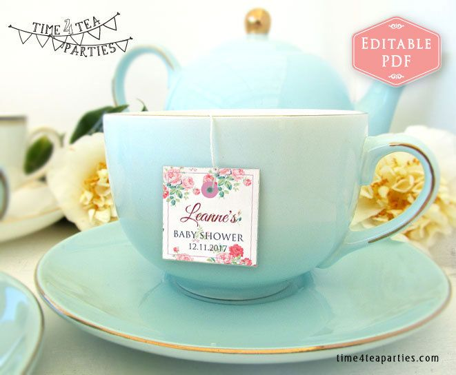 Tea Bag Tags Pink floral. Editable PDF with Puple text. Download Today - Bridal Tea - Kitchen Tea - Baby Shower Tea - High Tea. Printable. by Time4TeaParties on Etsy