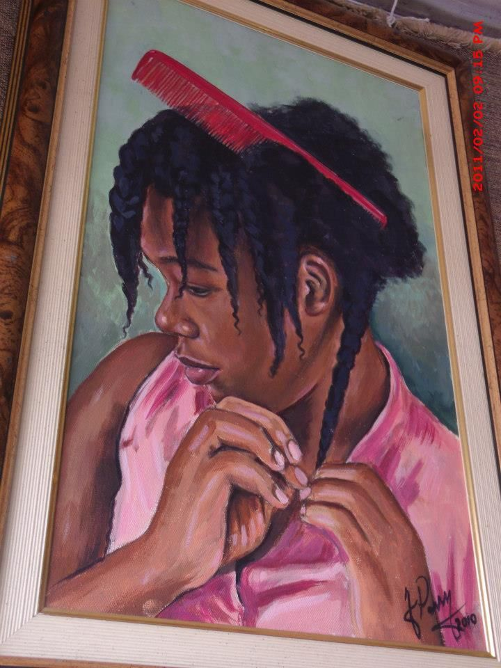 """Natural Hair Painting #Jamaican #Art  I so want to rename this one """"The Struggle"""" or """"Beauty within the struggle"""""""