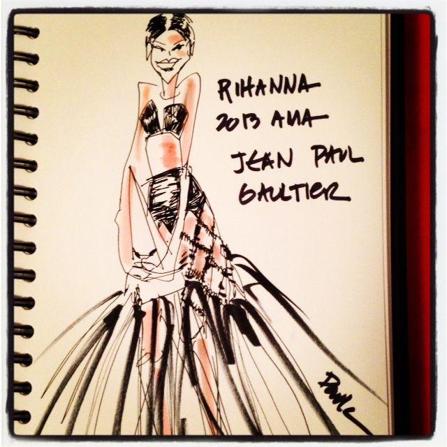 "Rihanna at the 2013 AMAs in Jean Paul Gaultier and her ""doobie wrap"" hair. LOVE."