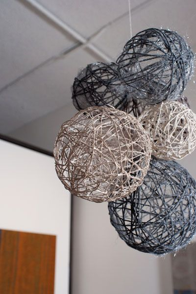 winter-inspired yarn ball decor