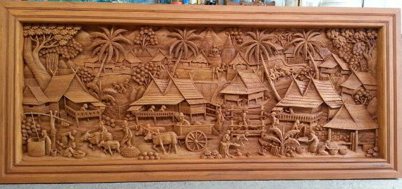Large carved teak wood wall art decor 3D panel with beautiful country details.