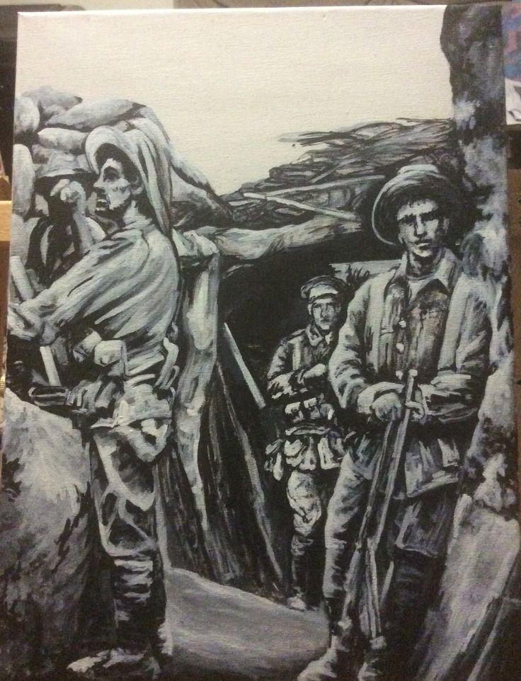 """""""Trenches, WW1"""" ink on canvas by Paula Benson 2016. Part of Centenary Collection."""