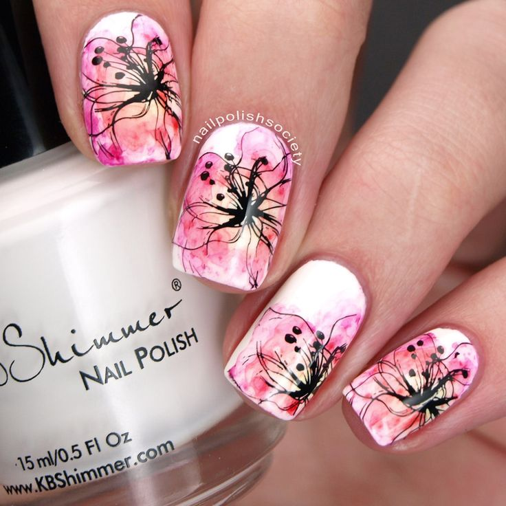 Nailpolis Museum of Nail Art | Sharpie Watercolor Flowers by Emiline Harris