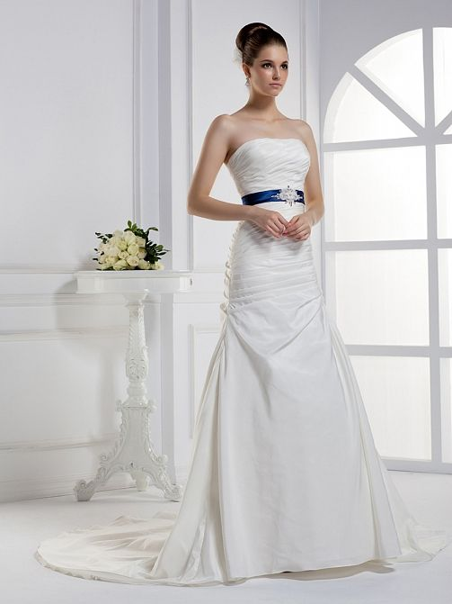 2012 Fall Strapless Taffeta bridal gown with Natural waist
