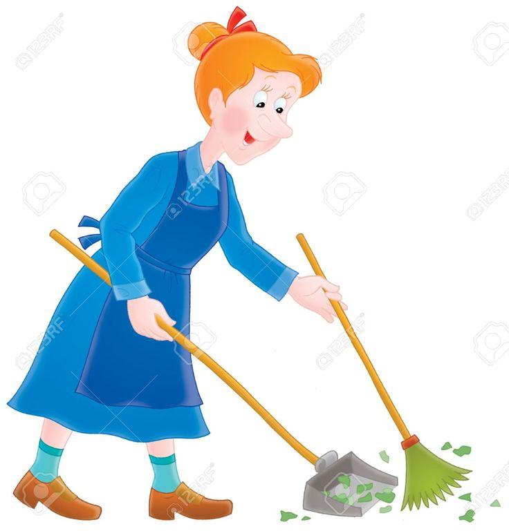 La señora limpia su jàrdin de las hojas usando la escoba y la pala.