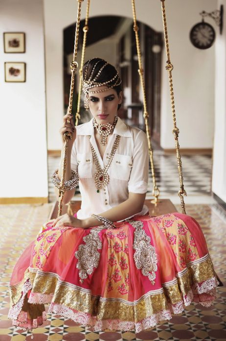 lehenga with bridal jewellery. Indian fashion.