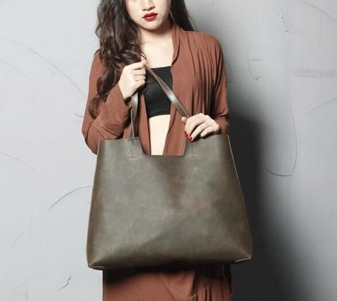 Handmade Genine Leather Tote Bag, Women Shopper Bag, Shoulder Bags SCY06
