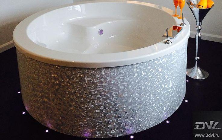 Дизайн ванной - Работы - 3D плёнка, Напольное покрытие - живая плитка, столешницы, светильники, лампы