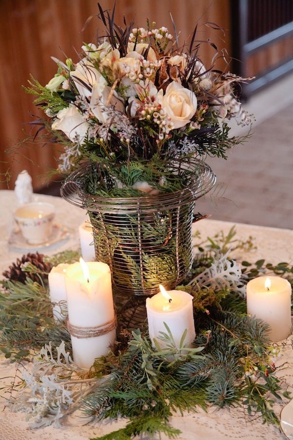 winter wedding inspiration in the great white north winter table centerpieceswinter