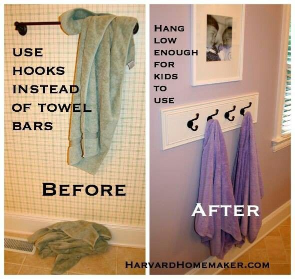 Using hooks instead of Bars in the Bathroom with children will make sure that towels actually stay off the floor. #cohenmacinnis #remax #remaxnova #bathroom