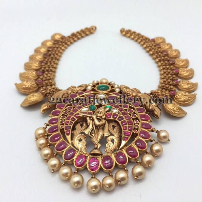Mango Set with Krishna Pendant | Jewellery Designs