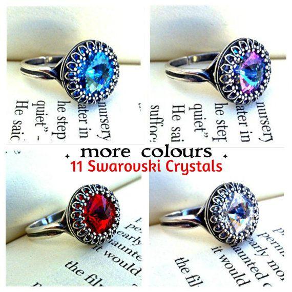 Gothic Ring Swarovski Ring Victorian Ring Crystal Ring Cocktail Ring Solitaire Ring Victorian Gothic Jewelry