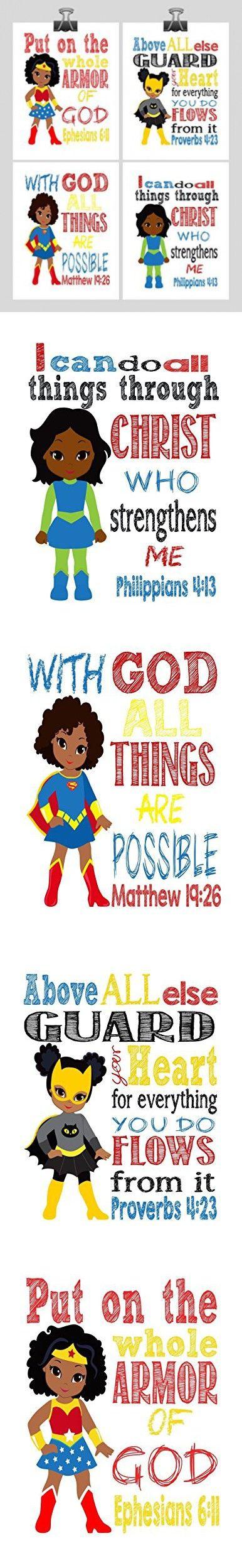 African American Christian Superhero Nursery Decor Art Print Set of 4 -Wonder Woman, Batgirl, Supergirl and Hulk - Multiple Sizes