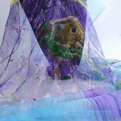 """Etole écharpe foulard en mousseline de soie peint main lavande """" valensole """""""