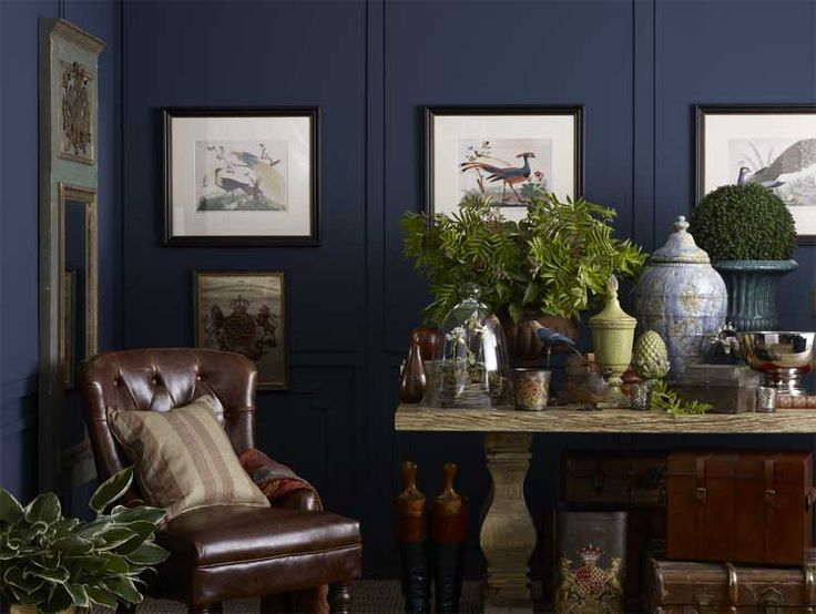 Love India Jane's style. The deep wall colour reminds me of Zoffany 'Velvet Blue' paint. So rich and elegant.