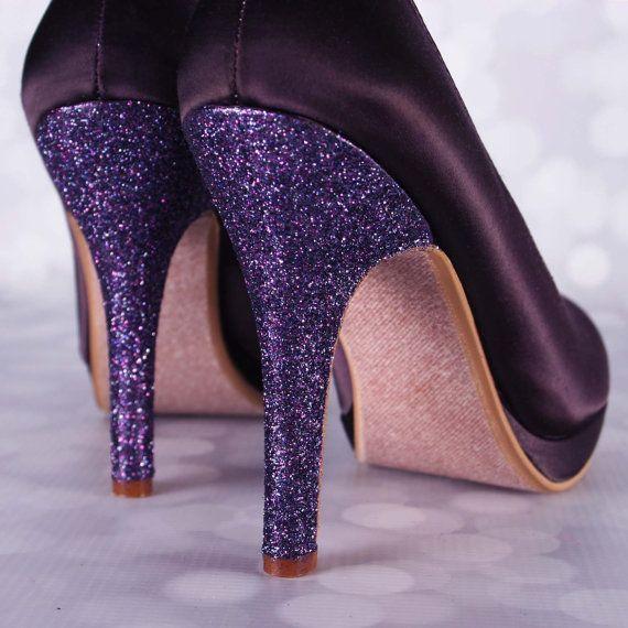 Lapis lila Hochzeitsschuhe / Glitter Ferse von EllieWrenWeddingShoe