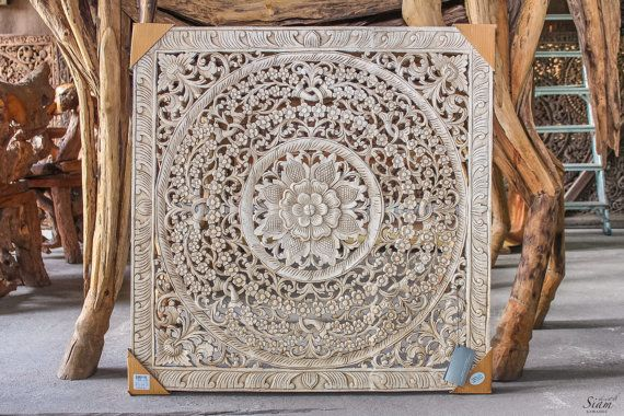 White Carved Wood Wall Art Panel. Floral Relief Wall Hanging Decorative. A Unique Oriental Home Decor From Thailand (3'X3' Ft. White)