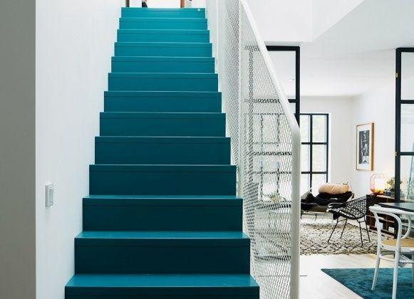 Les 43 meilleures images propos de escaliers stairs sur pinterest inspiration branches for Peinture escalier vitrifie